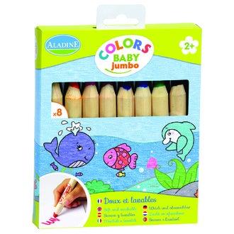 ALADINE - Set de 6 crayons de couleurs Jumbo 12,5x1,5cm