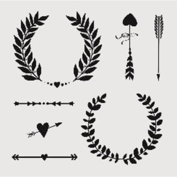 acquista online Stencil corone e frecce 19x19cm