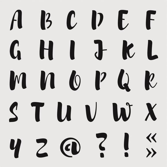 Achat en ligne Pochoir alphabet brush small 9*9