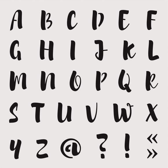 Achat en ligne Pochoir alphabet brush medium 19*19