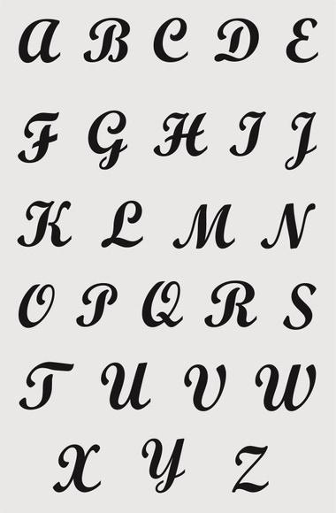 Achat en ligne Pochoir alphabet majuscules brush 19*29