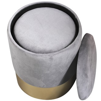 Lot de 2 poufs en velours gris et base effet métal doré avec rangement