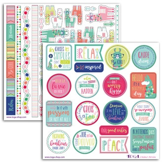 TOGA- 2 planches de stickers 15x15 lama