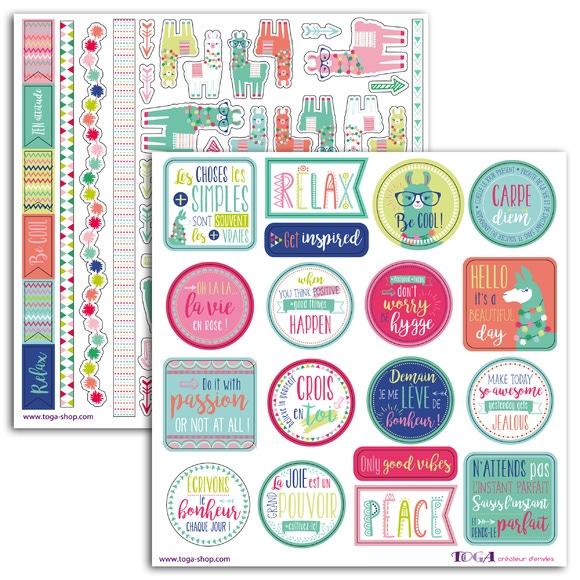 Achat en ligne 2 planches de stickers 15x15 lama