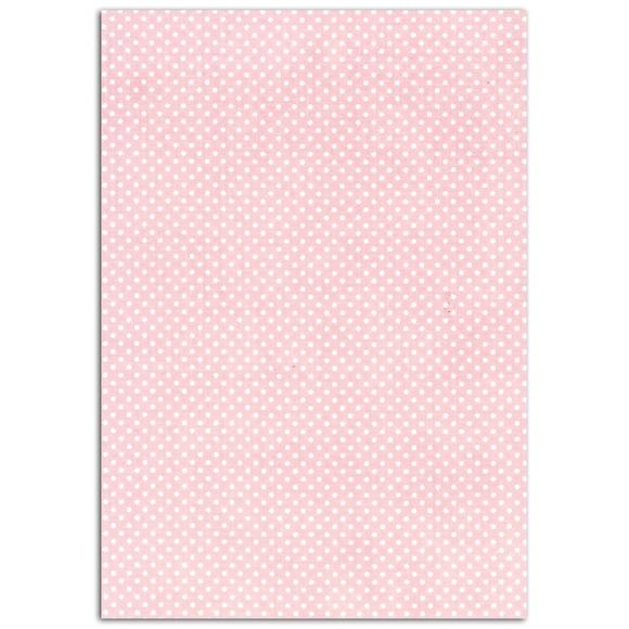 Achat en ligne Feuille de tissus adhésif rose poudré pois blanc A4