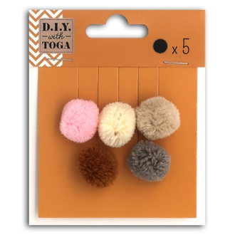 TOGA - 5 pompons rond nude