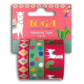 TOGA- Lot de trois masking tape cactus lama