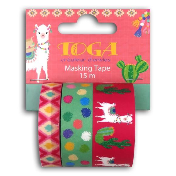 Lot de trois masking tape cactus lama