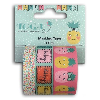 TOGA- Lot de trois masking tape biscuit ananas