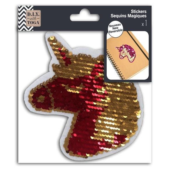 1 Sticker Sequin Magique Réversible Licorne