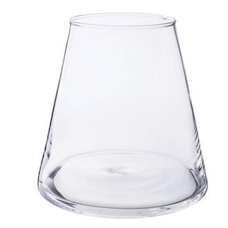 Vase conique en verre transparent Kheops Ø15,5xH16cm