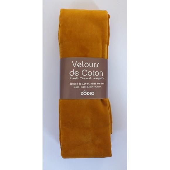 Achat en ligne Velours de coton moutarde coupon de 0,5x1,4m