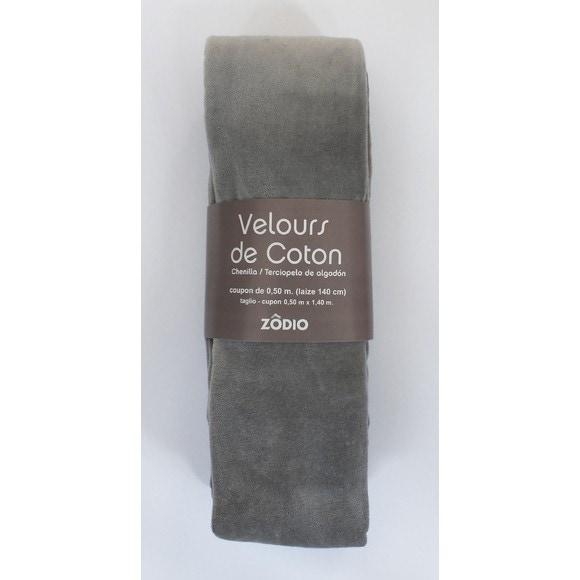 Achat en ligne Velours de coton gris clair coupon de 0,5x1,4m