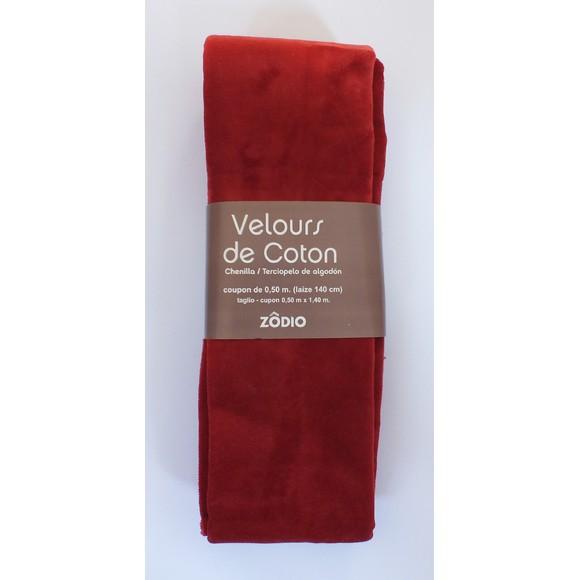 Achat en ligne Velours de coton brique coupon de 0,5x1,4m