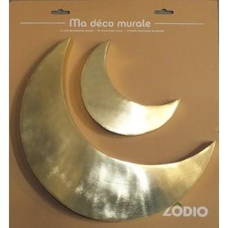 2 lunes métal doré 28X2cm - 50X30cm