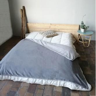 Housse pour édredon 140x200cm en coton gris avec passepoil