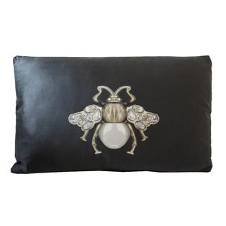 Zodio- coussin velours imprimé noir scarabée 30x50cm