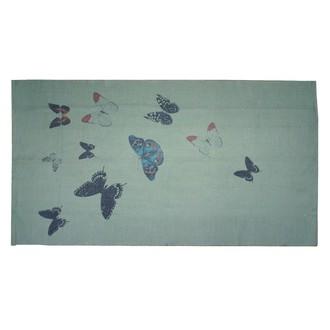 Zodio- tapis coton imprimé vert envolée de papillons 120x180cm