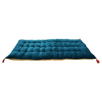 Zodio- futon velours peacock à pompons dos en toile curry 60x120cm
