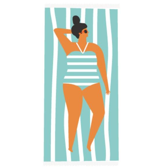 Fouta en coton imprimé Beach bleu 100x200cm