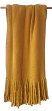 Achat en ligne Plaid maille longue frange curry 125x150cm