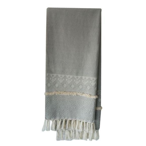 acquista online Plaid in cotone intrecciato blu 130x150cm