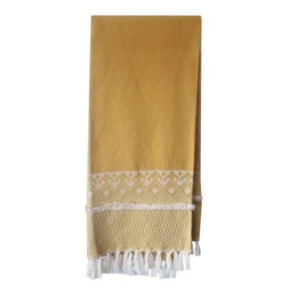 acquista online Plaid in cotone intrecciato curry 130x150cm