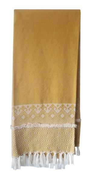 Achat en ligne Plaid tissé coton jaune curry Mila 130x150cm