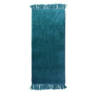 Tapis 50x120cm tufté peacock coton franges