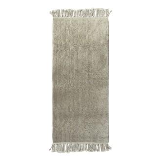 Tapis 50x120cm tufté glaise coton franges
