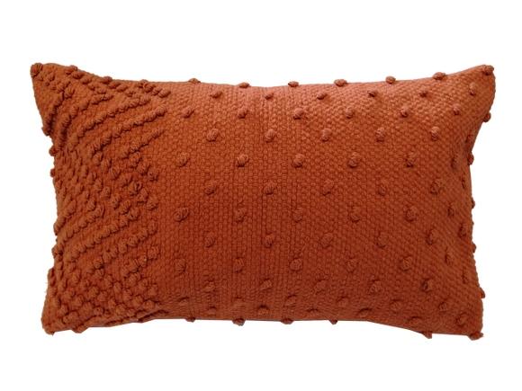 Achat en ligne Coussin en coton tissé à pompons sienne Indian 30x50cm