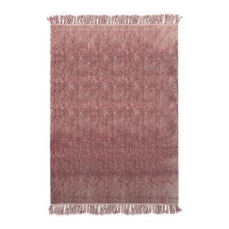 Tapis tufté coton franges fané indian 120x180cm