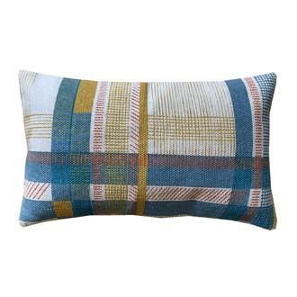 Cuscino rettangolare in cotone canvas blu curry 30x50cm