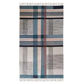 Tapis canvas imprimé carreaux bleu potiron appart 120x180cm