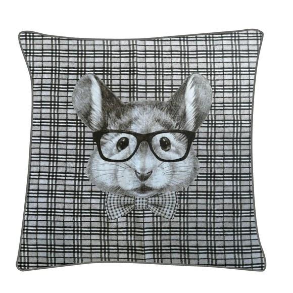 Cuscino quadrato in cotone stampato righe bianco nero 40x40cm