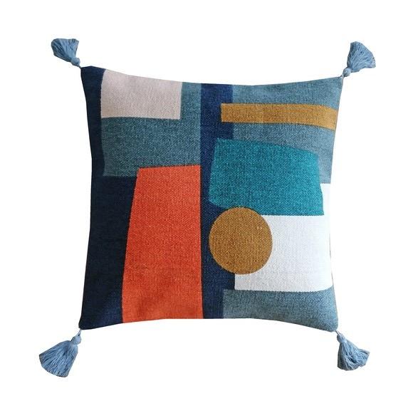 Cuscino quadrato in cotone stampato multicolor 40x40cm