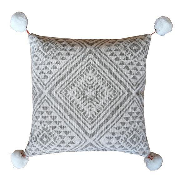 Cuscino quadrato in cotone canvas pompons marrone 45x45cm