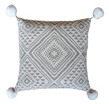 Achat en ligne Coussin en coton canvas à pompons glaise soin 45x45cm