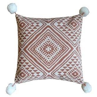 Coussin en coton canvas à pompons sienne soin 45x45cm