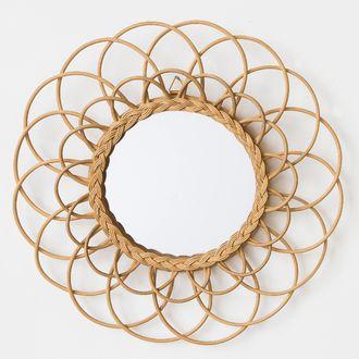 Miroir rond en rotin Fleur Ø60cm