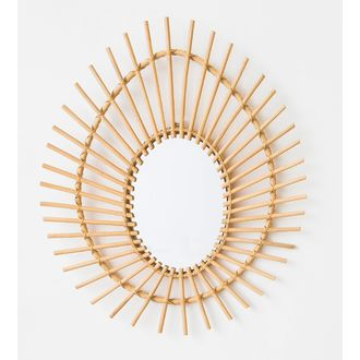 Miroir oval en rotin 65x55cm