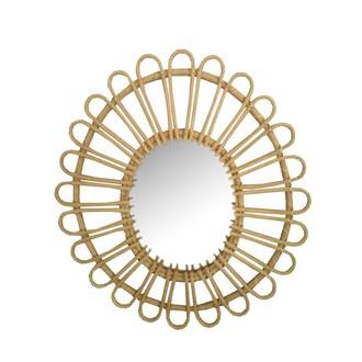 Miroir rotin naturel fleur ovale 50x46cm