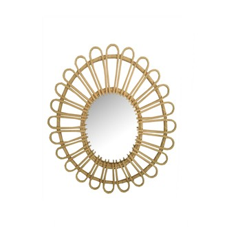 Miroir rotin naturel fleur ovale 46x30cm