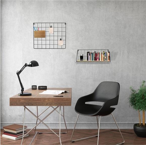 Achat en ligne Etagère filaire grille noir métal et bois 15x45x15cm