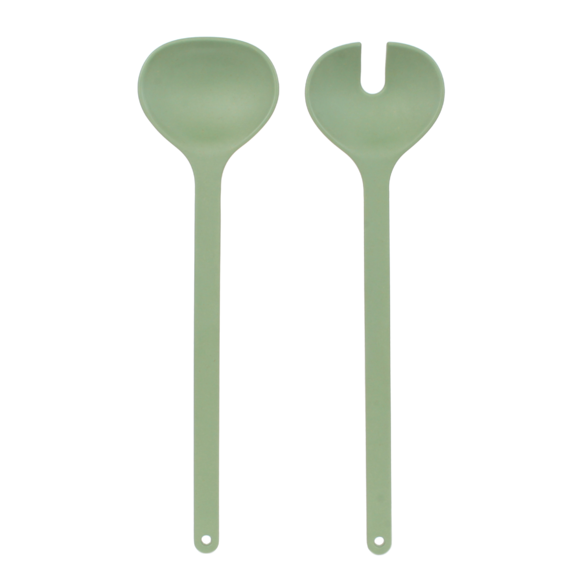 Set posate per insalata Nordic in melamina e bamboo, verde