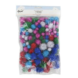 200 Pompons paillettes couleurs assorties