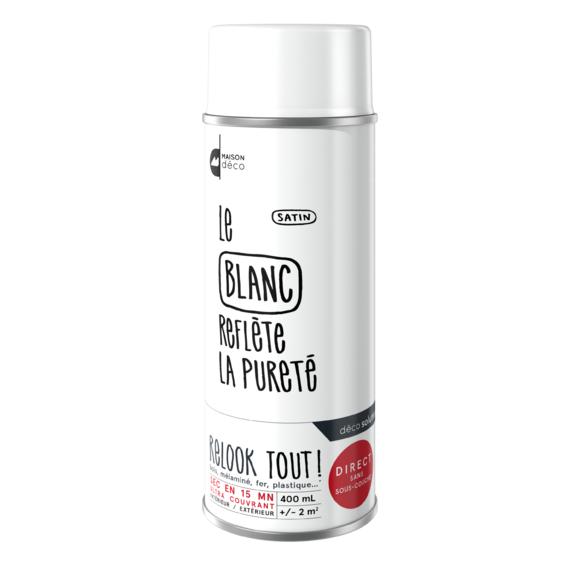 Peinture aérosol satin blanche Relook tout en bombe 400ml
