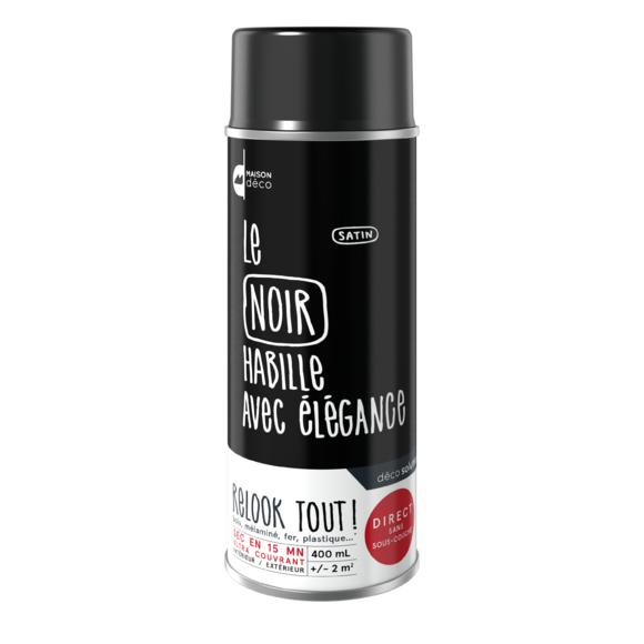 Peinture aérosol satin noire Relook tout en bombe 400ml