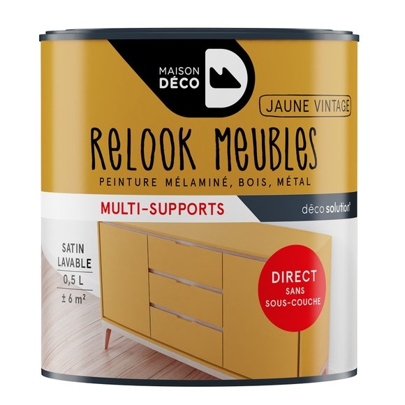 Achat en ligne Peinture pour meuble jaune vintage Relook meuble en pot 0,5l