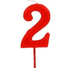 compra en línea Vela de cumpleaños del númeor 2 rojo